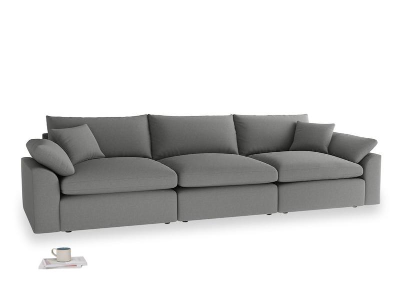 Large Cuddlemuffin Modular sofa in French Grey brushed cotton