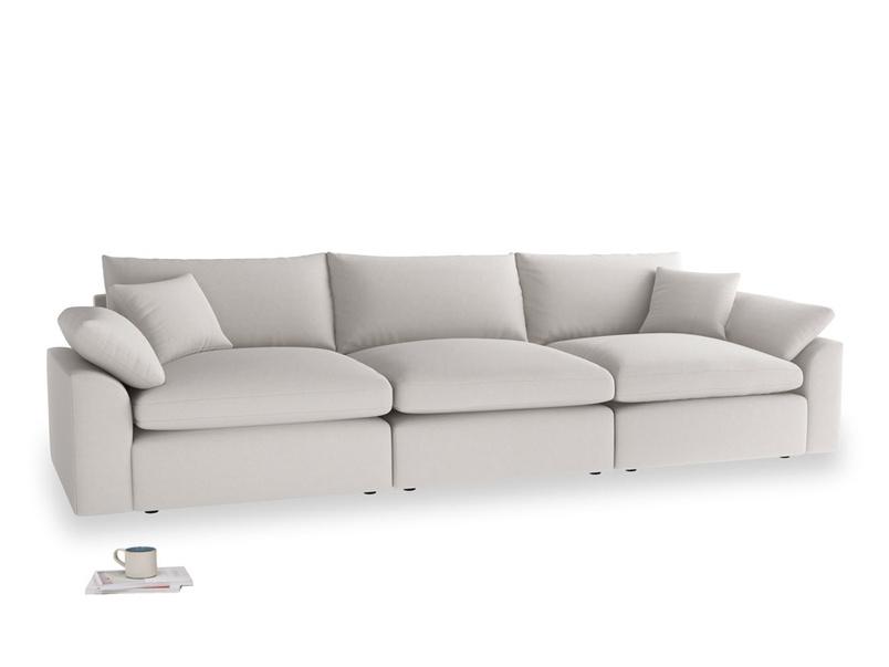 Large Cuddlemuffin Modular sofa in Lunar Grey washed cotton linen