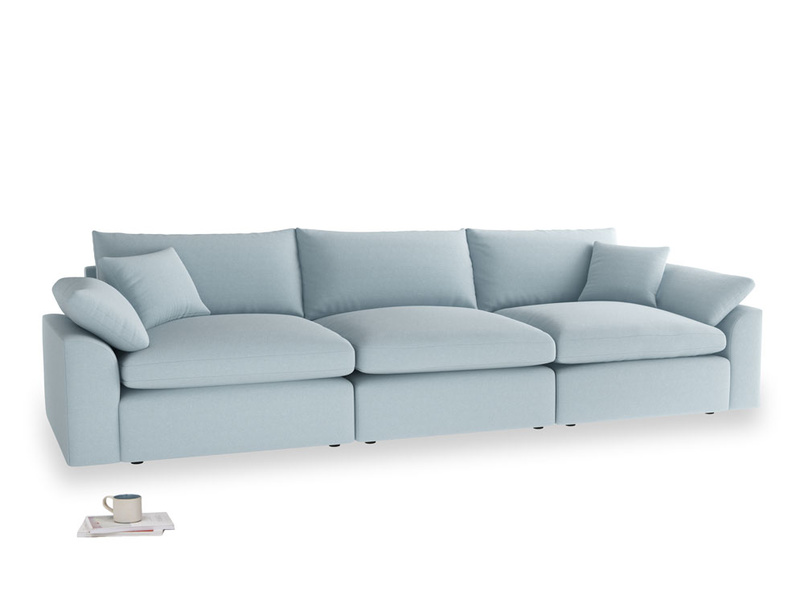 Large Cuddlemuffin Modular sofa in Soothing blue washed cotton linen