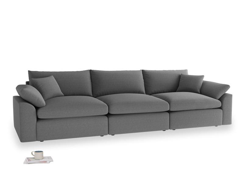 Large Cuddlemuffin Modular sofa in Ash washed cotton linen