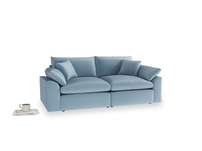 Medium Cuddlemuffin Modular sofa in Chalky blue vintage velvet