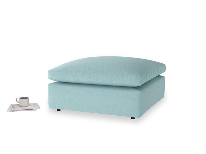 Cuddlemuffin Footstool in Adriatic washed cotton linen