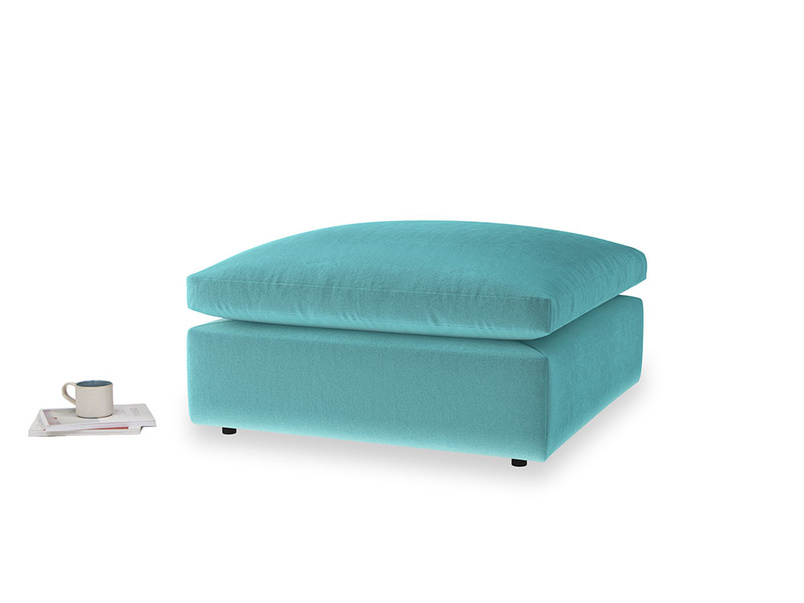 Cuddlemuffin Footstool in Belize clever velvet