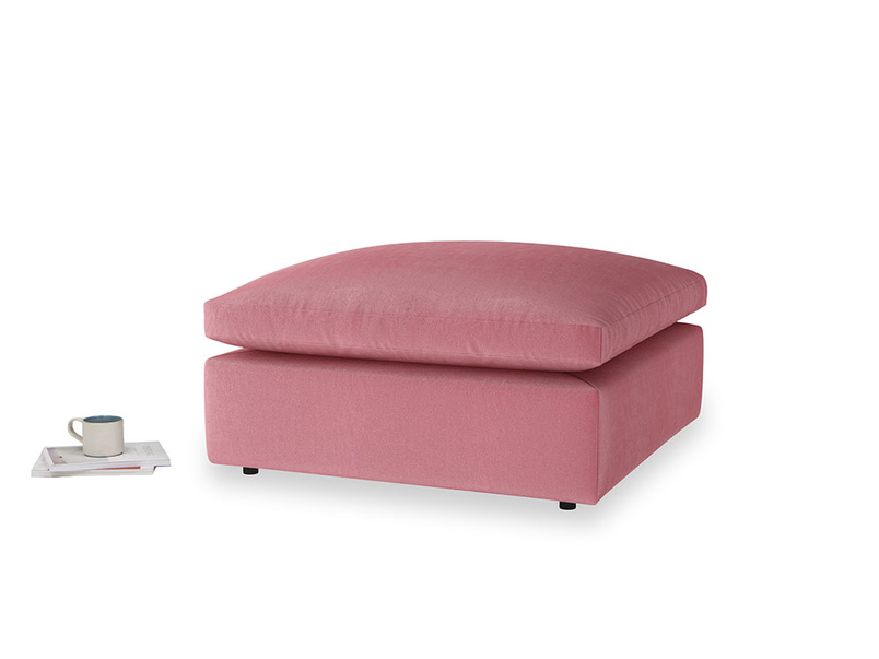 Cuddlemuffin Footstool in Blushed pink vintage velvet
