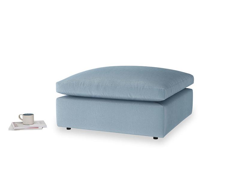 Cuddlemuffin Footstool in Chalky blue vintage velvet