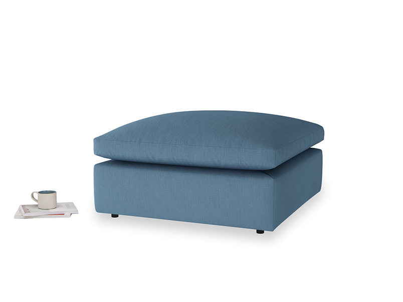 Cuddlemuffin Footstool in Easy blue clever linen