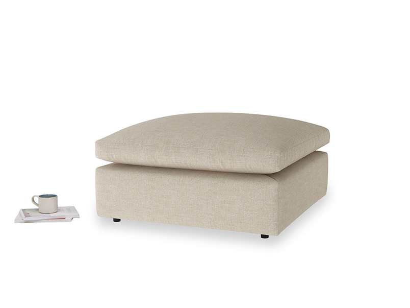 Cuddlemuffin Footstool in Flagstone clever woolly fabric