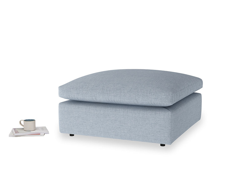 Cuddlemuffin Footstool in Frost clever woolly fabric