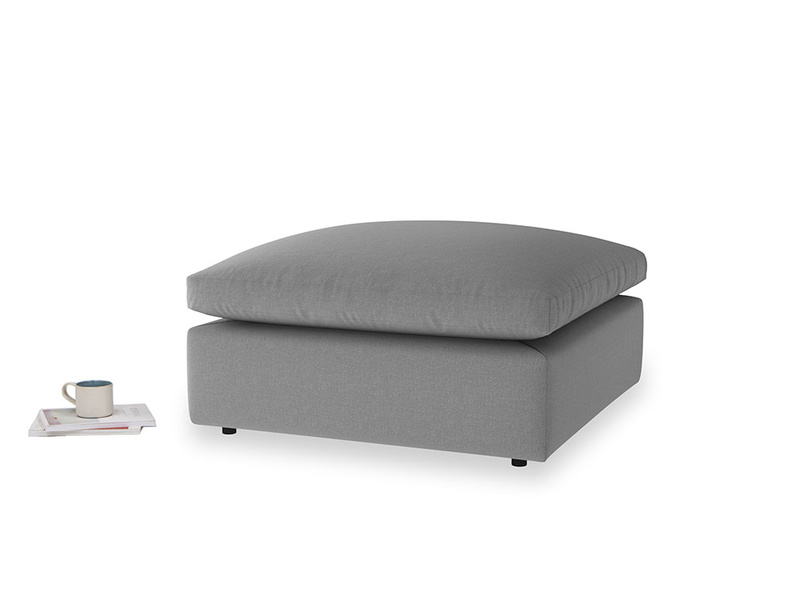 Cuddlemuffin Footstool in Gun Metal brushed cotton