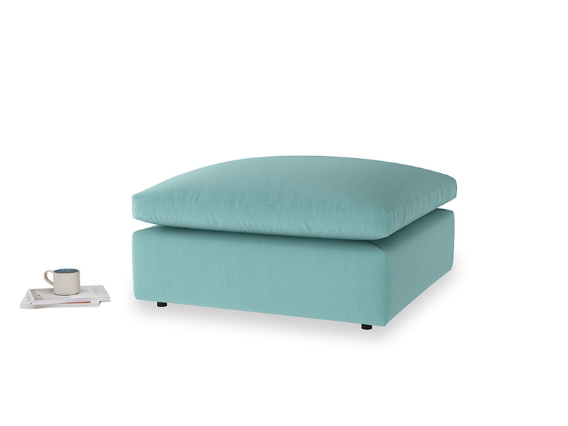 Cuddlemuffin Footstool in Kingfisher clever cotton