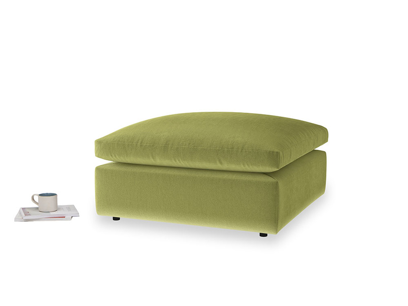Cuddlemuffin Footstool in Olive plush velvet