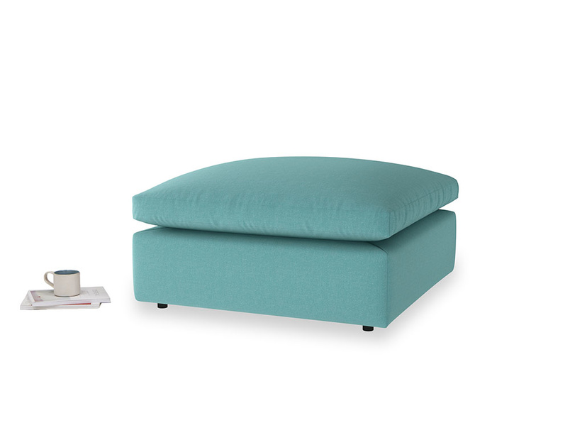 Cuddlemuffin Footstool in Peacock brushed cotton