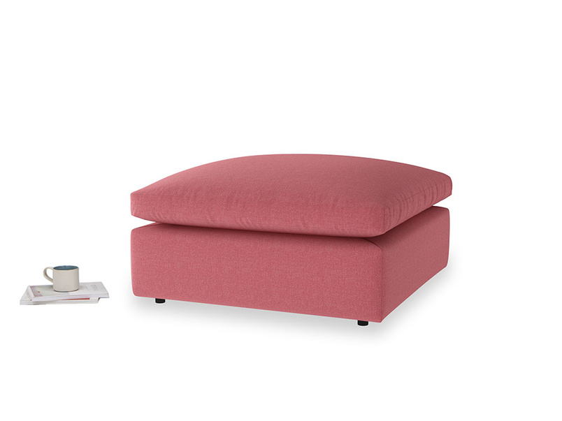 Cuddlemuffin Footstool in Raspberry brushed cotton