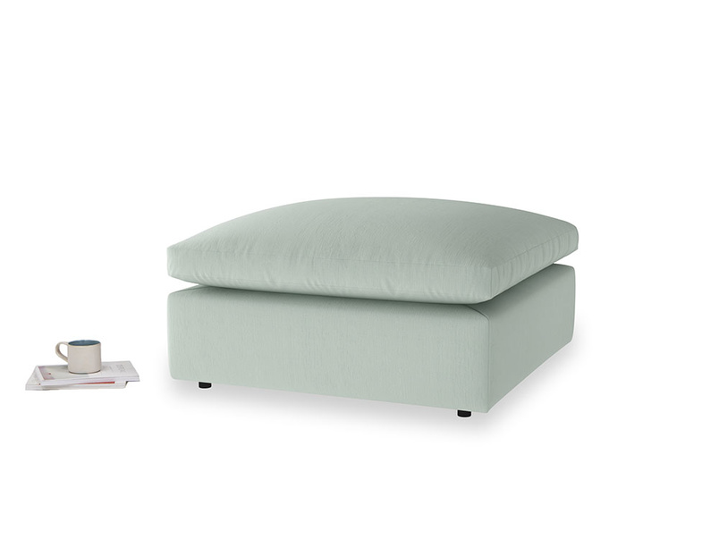 Cuddlemuffin Footstool in Sea surf clever cotton
