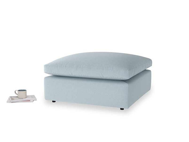 Cuddlemuffin Footstool in Soothing blue washed cotton linen