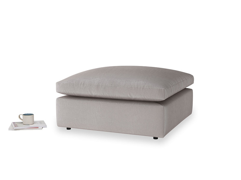 Cuddlemuffin Footstool in Soothing grey vintage velvet