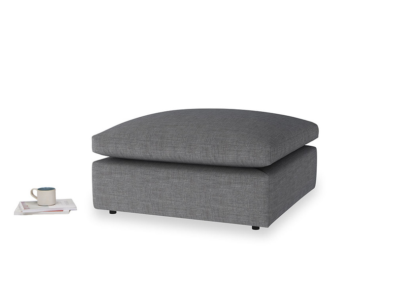 Cuddlemuffin Footstool in Strong grey clever woolly fabric