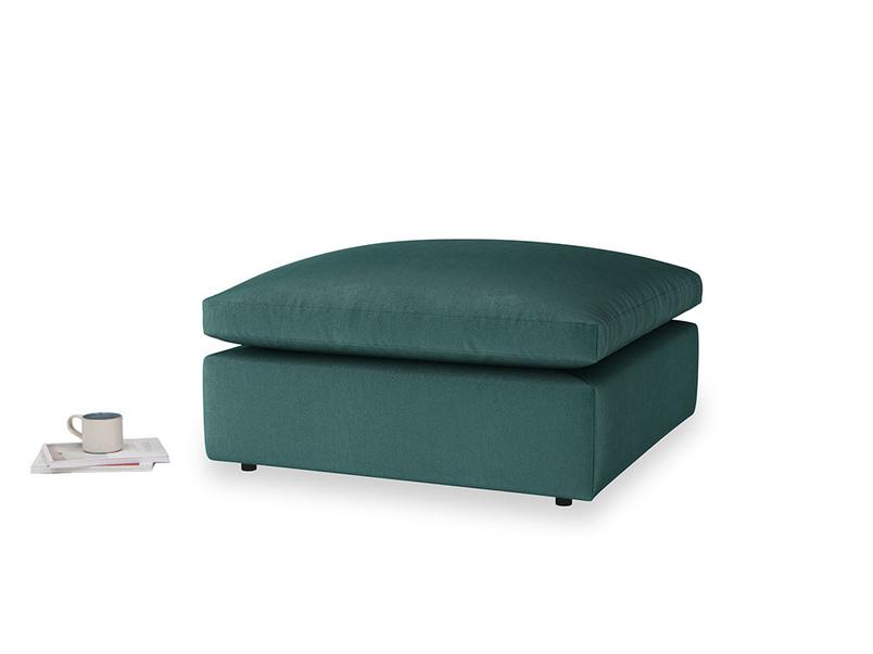 Cuddlemuffin Footstool in Timeless teal vintage velvet