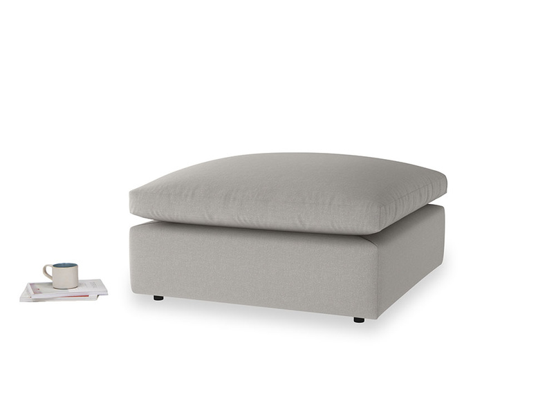 Cuddlemuffin Footstool in Wolf brushed cotton