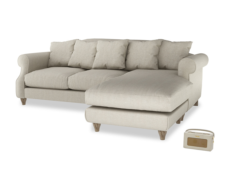 XL Right Hand  Sloucher Chaise Sofa in Thatch house fabric