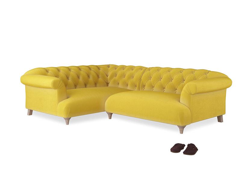 Large Left Hand Dixie Corner Sofa in Bumblebee clever velvet