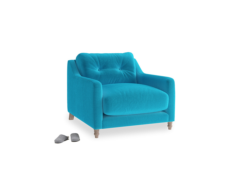 Slim Jim Armchair in Azure plush velvet