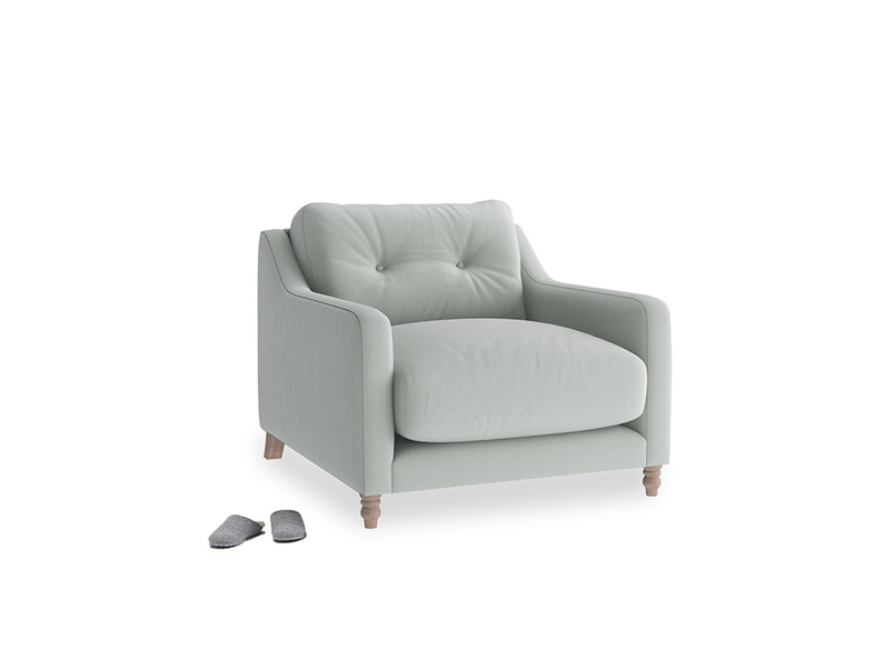 Slim Jim Armchair in Eggshell grey clever cotton