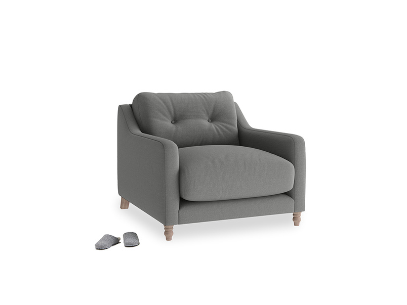 Slim Jim Armchair in French Grey brushed cotton