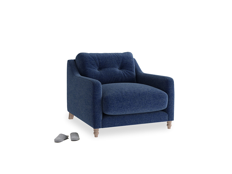 Slim Jim Armchair in Ink Blue wool