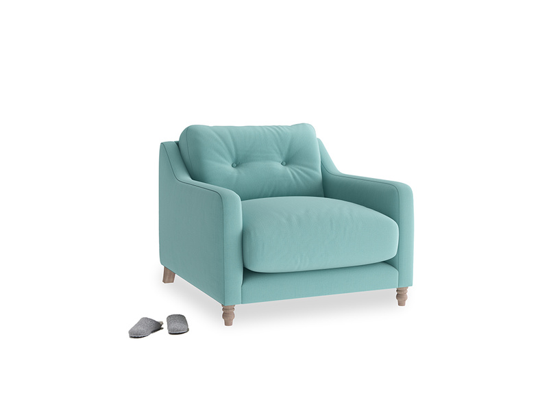 Slim Jim Armchair in Kingfisher clever cotton