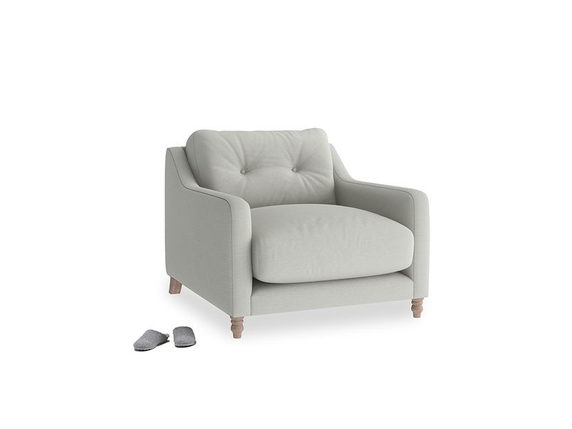 Slim Jim Armchair in Mineral grey clever linen