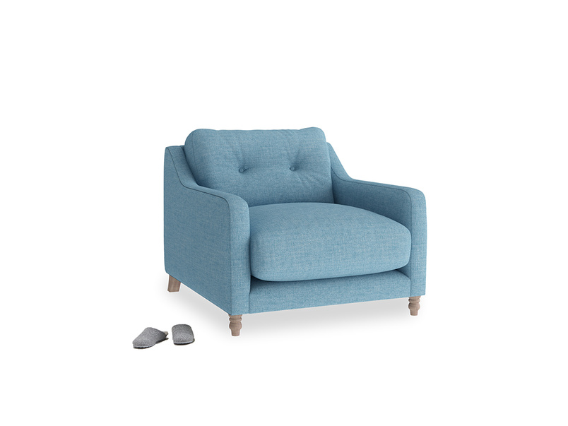 Slim Jim Armchair in Moroccan blue clever woolly fabric