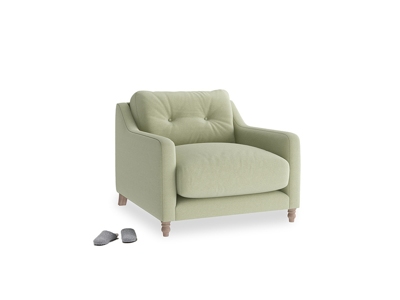 Slim Jim Armchair in Old sage washed cotton linen