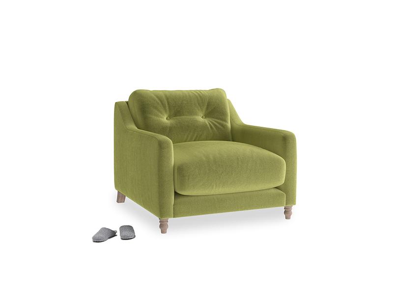 Slim Jim Armchair in Olive plush velvet