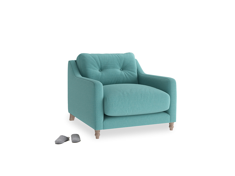 Slim Jim Armchair in Peacock brushed cotton