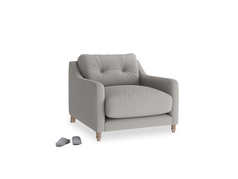 Slim Jim Armchair in Safe grey clever linen