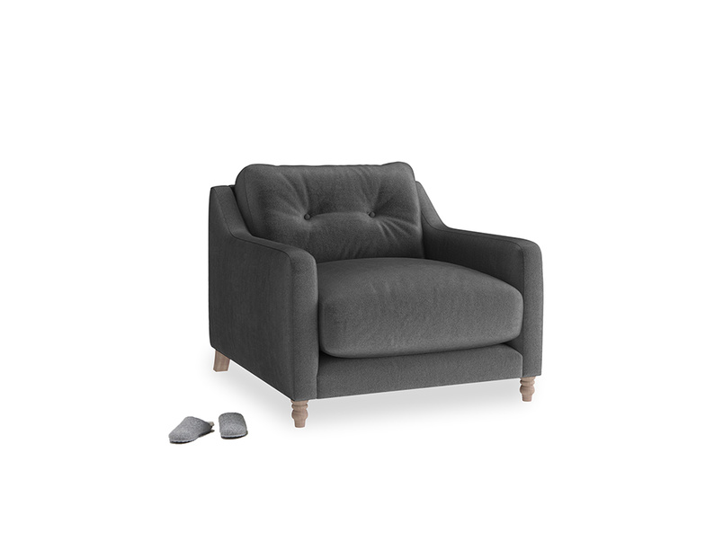 Slim Jim Armchair in Scuttle grey vintage velvet