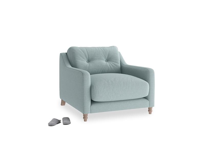 Slim Jim Armchair in Smoke blue brushed cotton