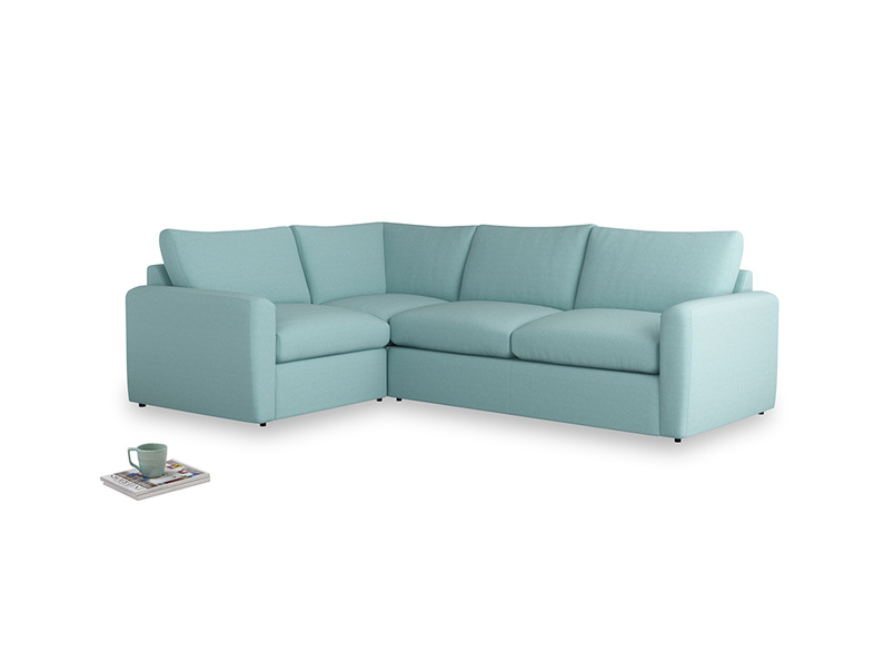 Large left hand Chatnap modular corner sofa bed in Adriatic washed cotton linen with both arms