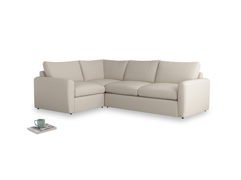 Large left hand Chatnap modular corner sofa bed in Buff brushed cotton with both arms