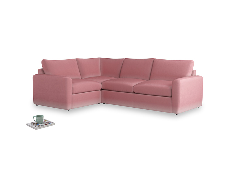 Large left hand Chatnap modular corner sofa bed in Dusty Rose clever velvet with both arms