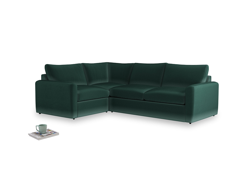 Large left hand Chatnap modular corner sofa bed in Dark green Clever Velvet with both arms