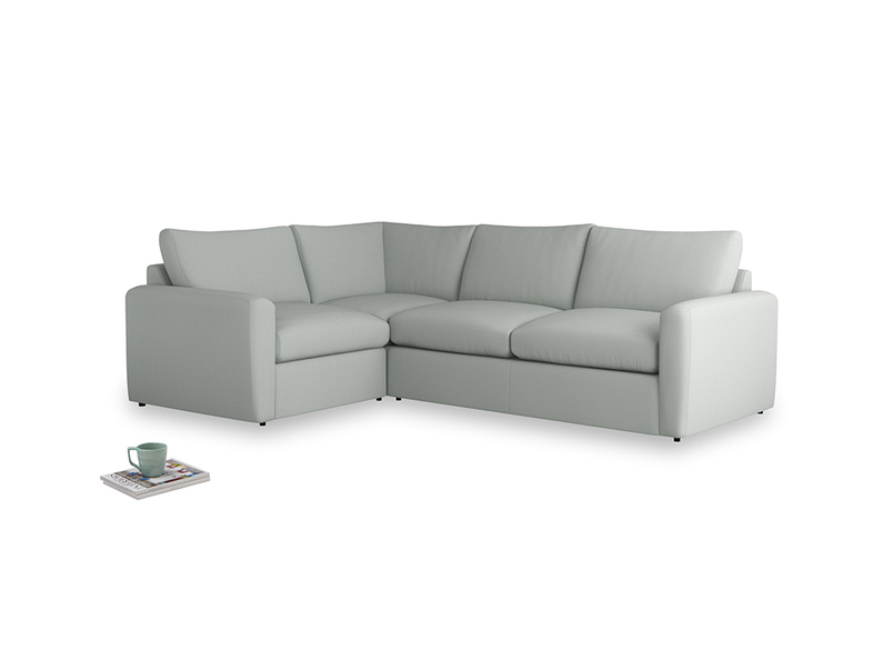 Large left hand Chatnap modular corner sofa bed in Eggshell grey clever cotton with both arms