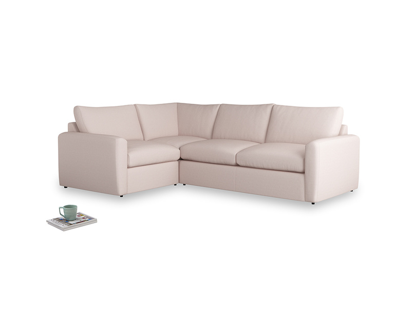 Large left hand Chatnap modular corner sofa bed in Faded Pink brushed cotton with both arms