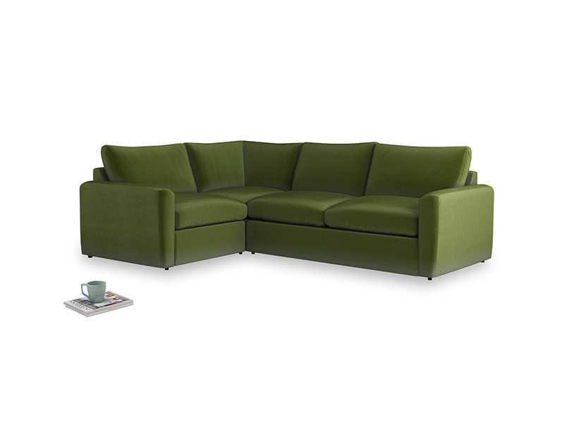 Large left hand Chatnap modular corner sofa bed in Good green Clever Deep Velvet with both arms
