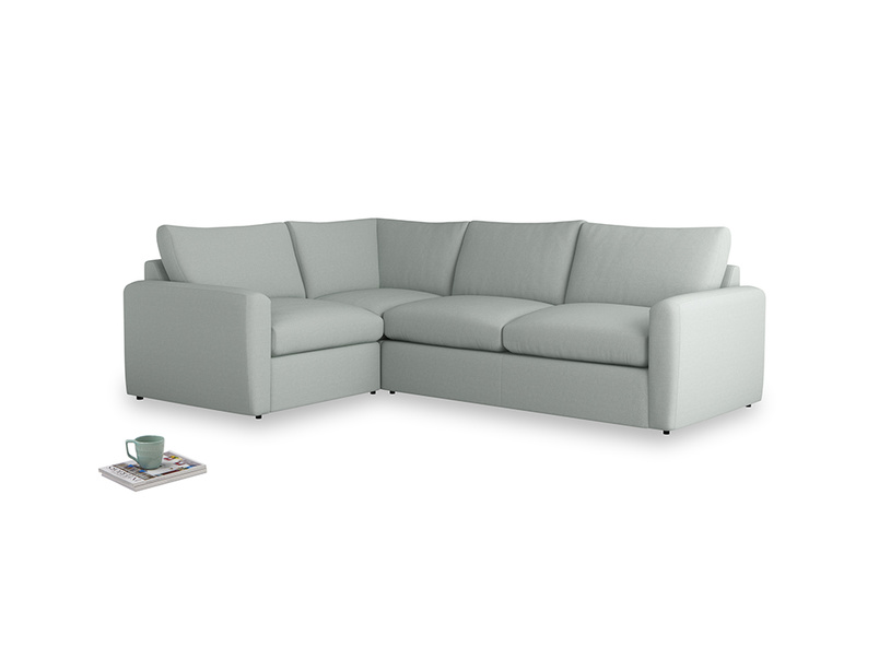 Large left hand Chatnap modular corner sofa bed in French blue brushed cotton with both arms