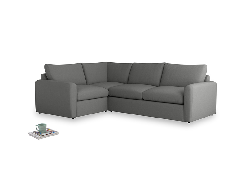 Large left hand Chatnap modular corner sofa bed in French Grey brushed cotton with both arms