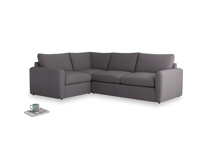 Large left hand Chatnap modular corner sofa bed in Graphite grey clever cotton with both arms