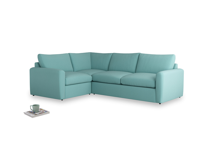 Large left hand Chatnap modular corner sofa bed in Kingfisher clever cotton with both arms