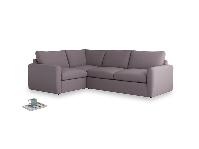 Large left hand Chatnap modular corner sofa bed in Lavender brushed cotton with both arms